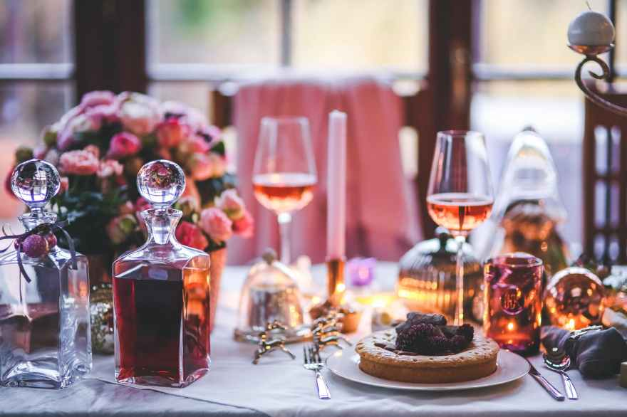 Rose dinner-meal-table-wine